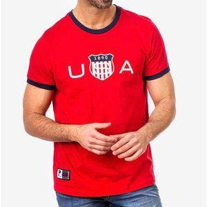 US Polo Men USA Logo Crew Neck T-Shirt Red L NWT